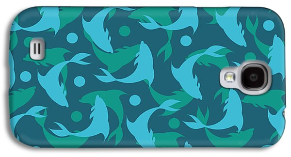 Dolphins In Blue  Galaxy S4 Case by Mark Ashkenazi
