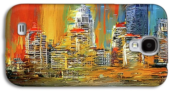 Downtown Louisville - Colorful Abstract Art Galaxy S4 Case by Lourry Legarde
