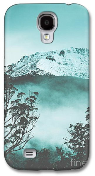 Dramatic Dark Blue Mountain With Snow And Fog Galaxy S4 Case by Jorgo Photography - Wall Art Gallery