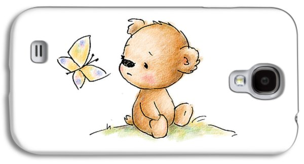 Drawing Of Cute Teddy Bear With Butterfly Galaxy S4 Case