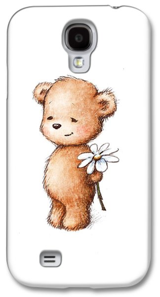 Drawing Of Teddy Bear With Daisy Galaxy S4 Case