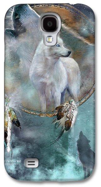 Dream Catcher - Spirit Of The White Wolf Galaxy S4 Case by Carol Cavalaris