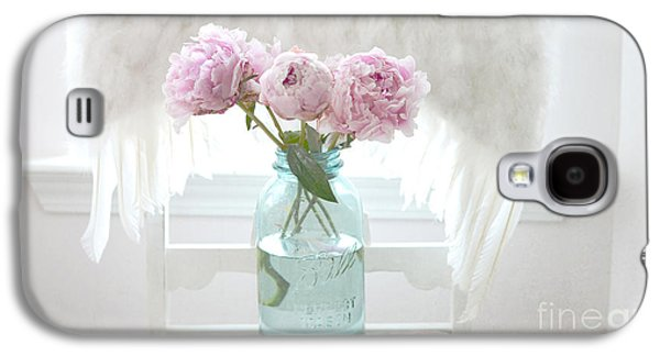 Dreamy Ethereal Angel Wings Pink Peonies Vintage Mason Aqua Blue Ball Jar - Shabby Chic Pink Peonies Galaxy S4 Case