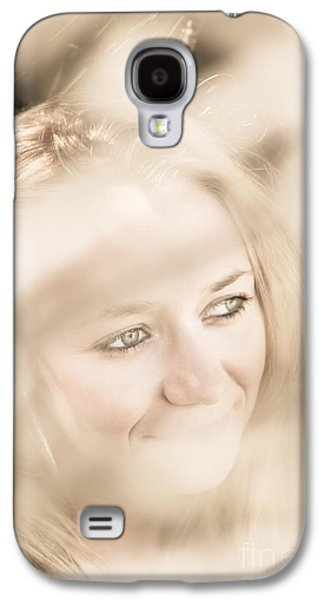 Dreamy Eyes Through Wicker Lines Galaxy S4 Case