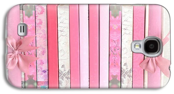Print On Canvas Galaxy S4 Cases - Dreamy Romantic Pink Books Collection - Shabby Chic Cottage Baby Nursery Pastel Pink Books Galaxy S4 Case by Kathy Fornal