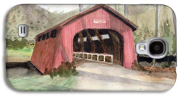 Drift Creek Covered Bridge Watercolor Galaxy S4 Case