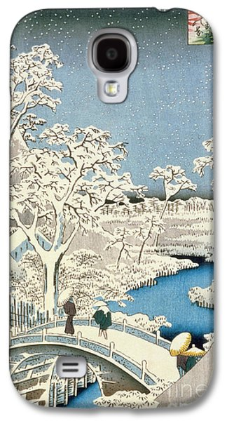 Drum Galaxy S4 Case - Drum Bridge And Setting Sun Hill At Meguro by Hiroshige