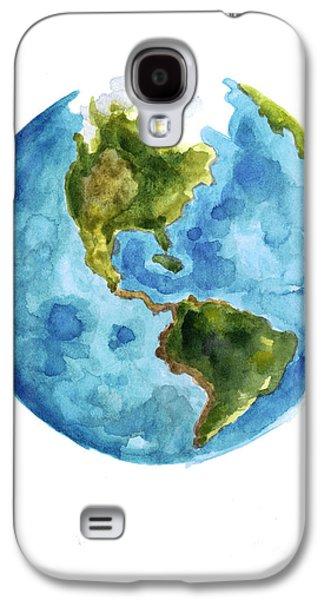 Earth America Watercolor Poster Galaxy S4 Case