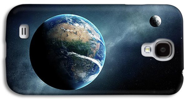 Earth And Moon Space View Galaxy S4 Case
