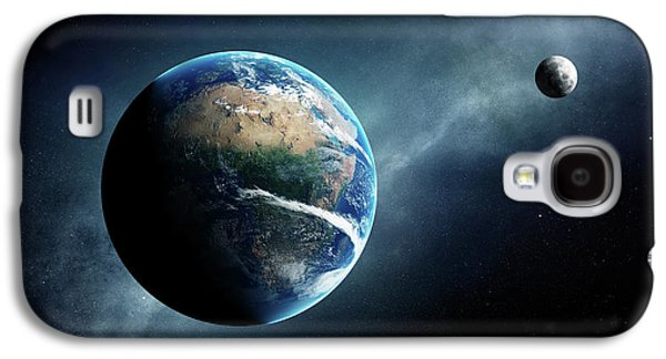 Earth And Moon Space View Galaxy S4 Case by Johan Swanepoel