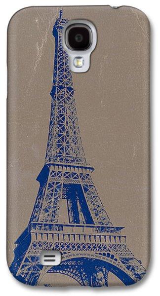 European City Digital Art Galaxy S4 Cases - Eiffel Tower Blue Galaxy S4 Case by Naxart Studio