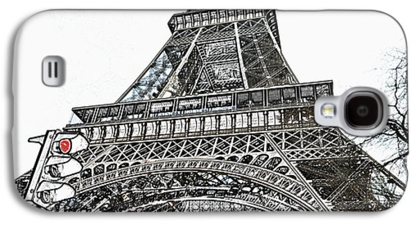 Eiffel Tower First And Second Floor Perspective With Red Stoplight Colored Pencil Digital Art Galaxy S4 Case