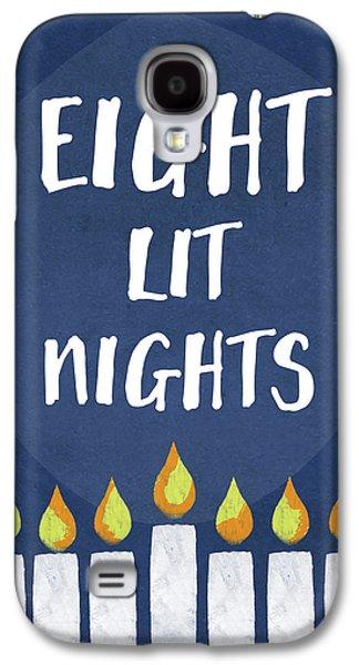 Eight Lit Nights- Hanukkah Art By Linda Woods Galaxy S4 Case