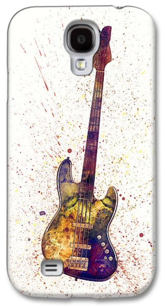 Guitar Galaxy S4 Case - Electric Bass Guitar Abstract Watercolor by Michael Tompsett