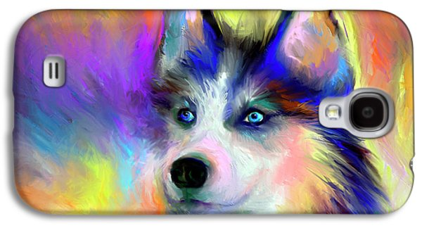 Best Sellers -  - Puppy Digital Art Galaxy S4 Cases - Electric Siberian Husky dog painting Galaxy S4 Case by Svetlana Novikova