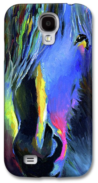 Portraiture Drawings Galaxy S4 Cases - electric Stallion horse painting Galaxy S4 Case by Svetlana Novikova