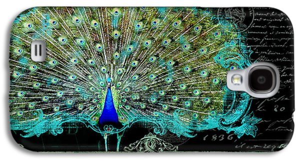 Elegant Peacock W Vintage Scrolls 3 Galaxy S4 Case by Audrey Jeanne Roberts