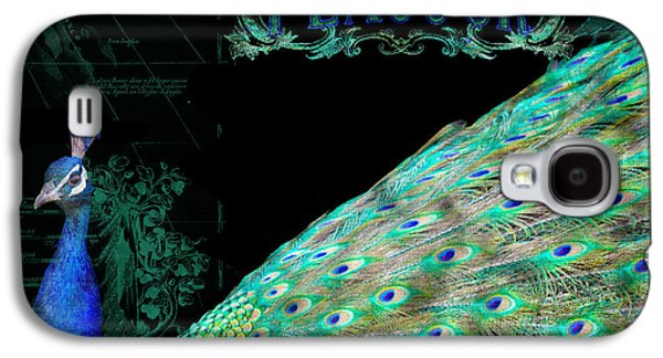 Elegant Peacock W Vintage Scrolls Typography 4 Galaxy S4 Case by Audrey Jeanne Roberts