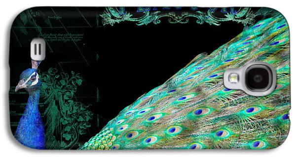 Elegant Peacock W Vintage Scrolls Typography 4 Galaxy S4 Case