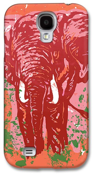 Elehpant Pop Art Etching Poster  Galaxy S4 Case by Kim Wang