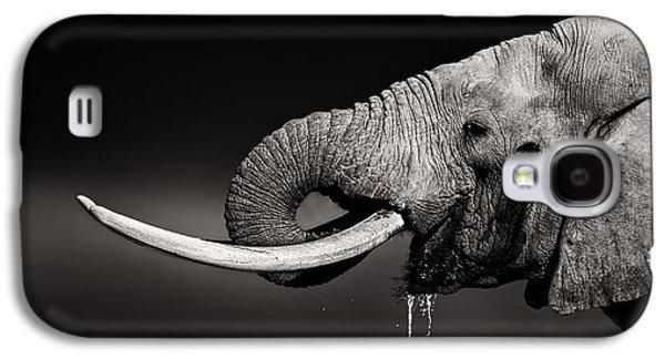 Bull Galaxy S4 Case - Elephant Bull Drinking Water - Duetone by Johan Swanepoel