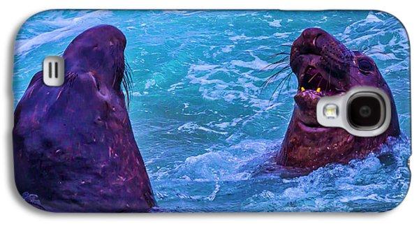 Elephant Seals Fighting In Ocean Surf Galaxy S4 Case