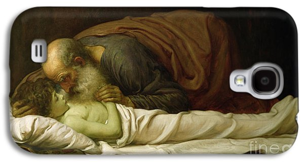Religious Galaxy S4 Cases - Elisha Raising the Son of the Shunamite Galaxy S4 Case by Frederic Leighton