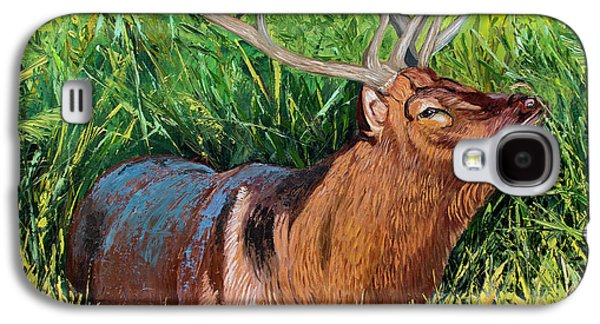 Elk Original Oil Painting On 24x24x1 Inch Gallery Canvas Galaxy S4 Case