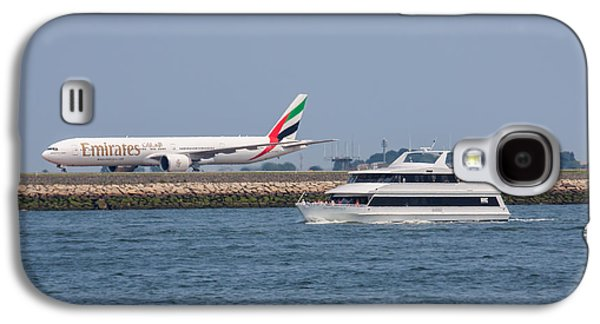 Emirates Airlines 777 Taxiing At Logan Airport Galaxy S4 Case by Brian MacLean