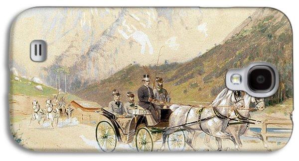 Emperor Franz Joseph I With Crown Prince Rudolf On A Carriage Journey In The Salzkammergut Galaxy S4 Case by Heinrich Gottfried Wilda