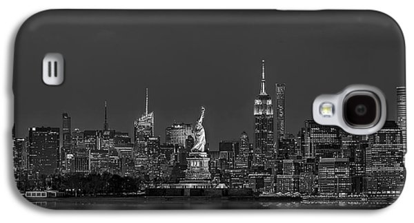 Empire State And Statue Of Liberty Bw Galaxy S4 Case by Susan Candelario