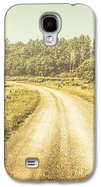 Empty Curved Gravel Road In Tasmania, Australia Galaxy S4 Case by Jorgo Photography - Wall Art Gallery