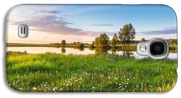 evening on the river with a field of dandelions, Russia, Ural Galaxy S4 Case by Alex Rudny