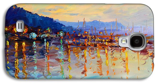 Docked Boat Galaxy S4 Cases - Evening Reflections in Piermont Dock Galaxy S4 Case by Ylli Haruni