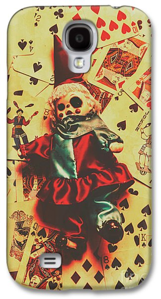 Evil Clown Doll On Playing Cards Galaxy S4 Case by Jorgo Photography - Wall Art Gallery