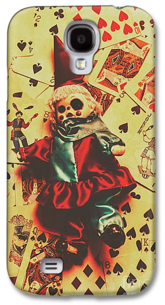 Evil Clown Doll On Playing Cards Galaxy S4 Case