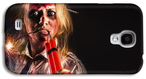 Evil Female Halloween Zombie Holding Bomb Galaxy S4 Case by Jorgo Photography - Wall Art Gallery