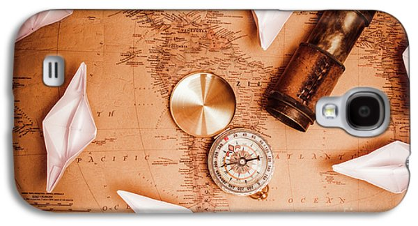 Explorer Desk With Compass, Map And Spyglass Galaxy S4 Case by Jorgo Photography - Wall Art Gallery