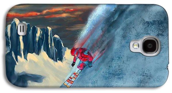 Mountain Sunset Galaxy S4 Case - Extreme Ski Painting  by Sassan Filsoof