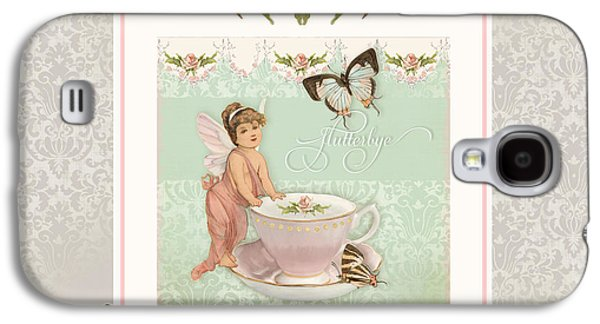 Fairy Teacups - Flutterbye Butterflies And English Rose Damask Galaxy S4 Case by Audrey Jeanne Roberts