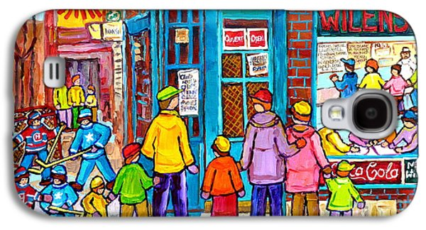 Family Day At Wilensky Lunch Counter Montreal Street Hockey Winter Scene Carole Spandau Galaxy S4 Case