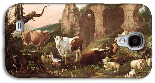 Farm Animals In A Landscape Galaxy S4 Case by Johann Heinrich Roos