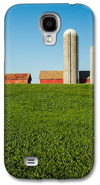 Farm Silos And Shed On Green And Against Blue Galaxy S4 Case by Todd Klassy