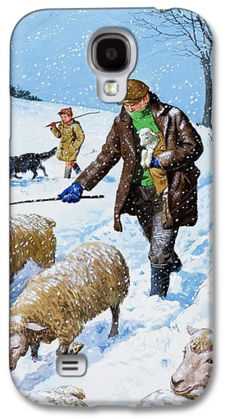 Farmers Bringing In Their Sheep Galaxy S4 Case by Clive Uptton