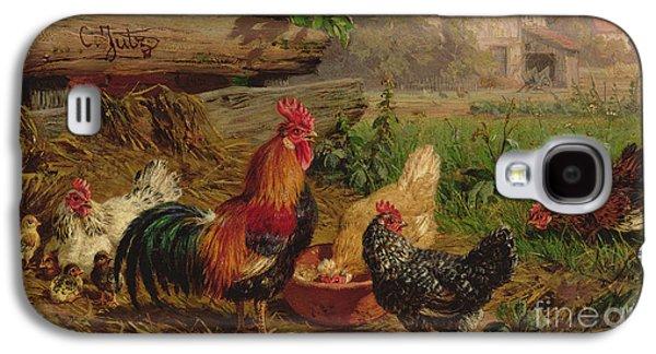Farmyard Chickens Galaxy S4 Case by Carl Jutz