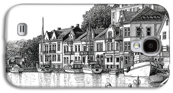 Farsund Harbor In Ink Galaxy S4 Case by Janet King
