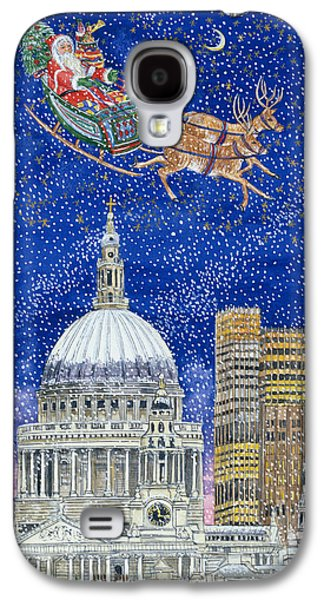 Father Christmas Flying Over London Galaxy S4 Case by Catherine Bradbury