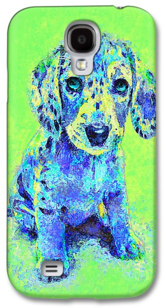 Green And Blue Dachshund Puppy Galaxy S4 Case