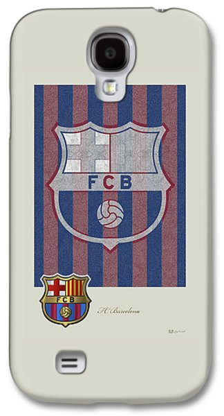 Fc Barcelona Logo And 3d Badge Galaxy S4 Case by Serge Averbukh