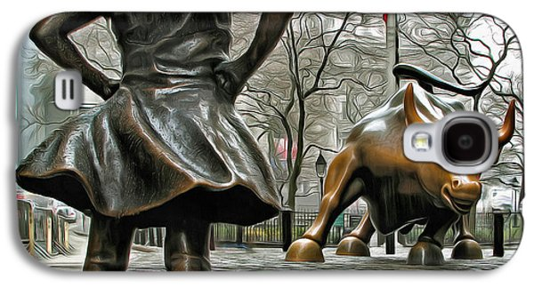 Fearless Girl And Wall Street Bull Statues 5 Galaxy S4 Case